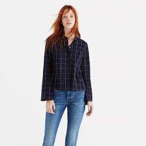 Madewell Bell-Sleeve Shirt in Windowpane, NWOT